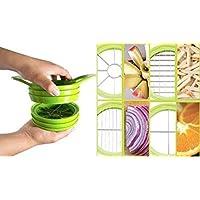 Home Solutions Chop & Dice - 4 in 1 Multi-Function Vegetable Fruit Slicer (Green, Yellow, Orange - Random Colours Sent)