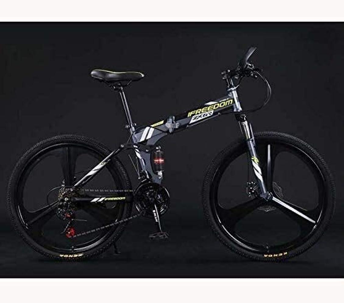 ベール黒板叙情的な折りたたみ自転車自転車マウンテンバイク軽量アダルトティーン男性と女性、高炭素鋼のフルサスペンションフレーム、デュアルディスクブレーキ、E、24インチ27回転