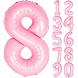 Angel&tribe 数字型風船 101.6cm/40インチ ナンバー 0~9 ティファニーピンク 誕生日パーティー飾り付け ヘリウムガス対応 ホイル マイラーバルーン 数字8 ティファニーピンク