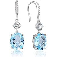 4.95Ct Oval Natural Gemstone Sterling Silver Hook Dangle Earrings with Round CZ Halo for Women 0.9""