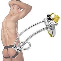 男性用貞操帯 トレブルリング付 ステンレス製 通貫ビーズ連結式尿道プラグ付き 常時使用可能 SMグッズ 拘束具 南京錠付
