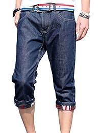 [アルファーフープ] メンズ デニム ジーンズ ハーフ 7 分 丈 パンツ ジーパン ボトムス 半 ズボン 大きいサイズ D76