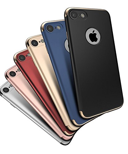 【CEAVIS】 iPhone 7 ケース メタリック ツートン配色 ハイブリッド ケース 3パーツ式 衝撃防止 おしゃれ (iPhone 7, A&レッド)