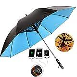 ファン付き傘ゴルフ付き傘パラソルファン全天候型紫外線カットガラス繊維風および撥水軽量(ブラックブルーピンクイエロー)
