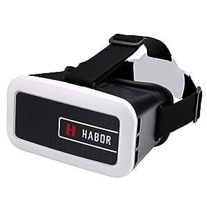 Habor 3D VRヘッドセット VRメガネ 超3D映像効果 バーチャルリアリティ体験 ヘッドバンド付き 4.0 〜6.0インチのiPhone/Androidスマートフォンに対応 3Dビデオ/映画/ゲーム用(ブラック)