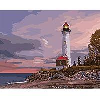 で生きているデジタル油絵,番号でビーチの灯台の風景 Diy 油絵絵画、家のためのキャンバスの壁のキットの部屋オフィスの壁の芸術のギフトを飾る、フレーム 40 × 50 cm のペイント