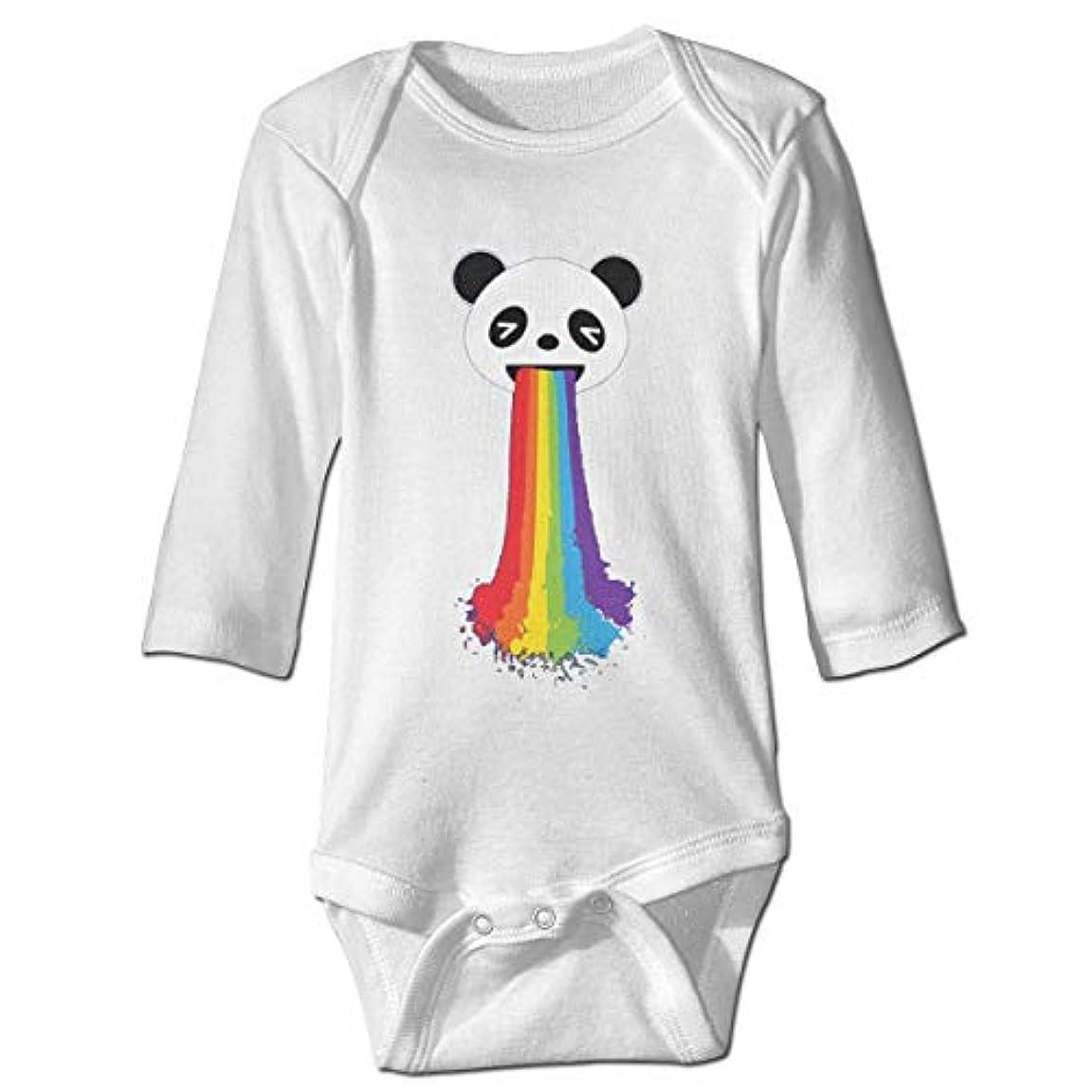 症状忙しい壁紙レインボーベビーボディスーツファッションワンシー長袖衣装コスチューム、2Tを投げるパンダ