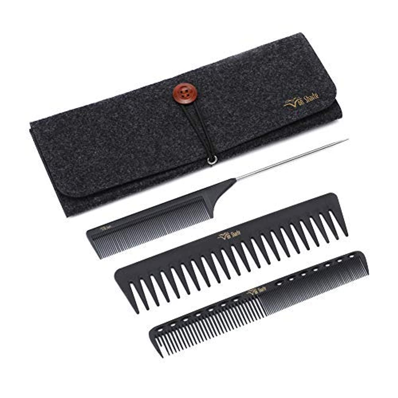 描写別の種をまくStyling Comb Set,Hairdresser Barber Comb Cutting Hair Comb Carbon Fiber Wide Tooth Comb Metal Rat Pin Tail Comb...
