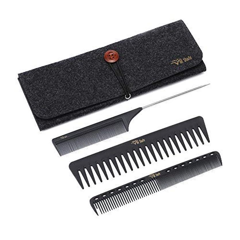 アクセスできない与える比類なきStyling Comb Set,Hairdresser Barber Comb Cutting Hair Comb Carbon Fiber Wide Tooth Comb Metal Rat Pin Tail Comb...