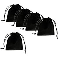 MagiDeal Black Velvet Drawstring Pouches Jewelry Bracelets Headphone Gift Bags Pack of 5pcs,15x12cm(6 x 5in)