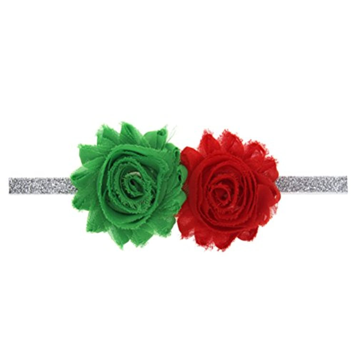 Zhhlinyuan ベビー小物 Kids Baby Christmas/Costume/Party Elastic Colorful Silk Flower Headband Hairband