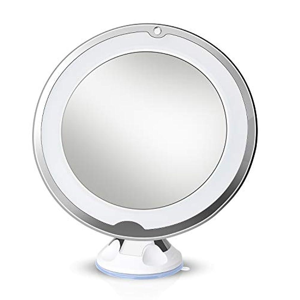 航海バングラデシュゴシップLirex 10倍拡大化粧鏡、ライトLED 360 度回転、フレキシブル吸盤付き、取り付け便利、10x化粧鏡 led付き回転バニティミラーバスルームアクセサリー - 白い