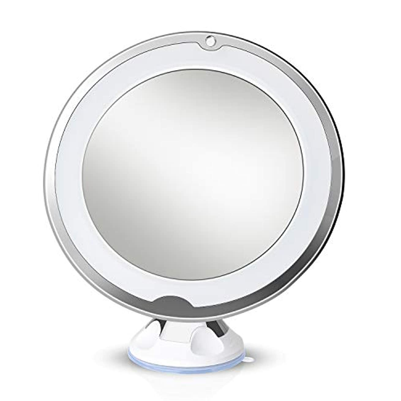 お客様一般的に言えば広がりLirex 10倍拡大化粧鏡、ライトLED 360 度回転、フレキシブル吸盤付き、取り付け便利、10x化粧鏡 led付き回転バニティミラーバスルームアクセサリー - 白い