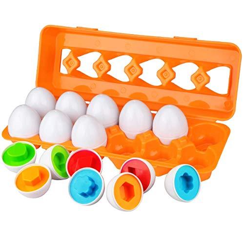 Dreampark赤ちゃんおもちゃ人気 モンテッソー教育玩具 マッチング卵12pcs イースター エッグ はめこみ 幼児のおもちゃ 形合わせ 知育玩具1 2 3歳 学習おもちゃ カラーシェイプ マッチングエッグセット 色と形の認識 集中力アップ 男の子の女の子 出産、入園のお祝い プレゼント 卵12個 オレンジパッケージ