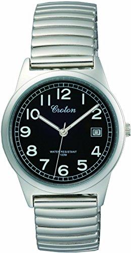CROTON クロトン  腕時計 3針 デイト 10気圧防水 伸縮バンド RT-140M-1