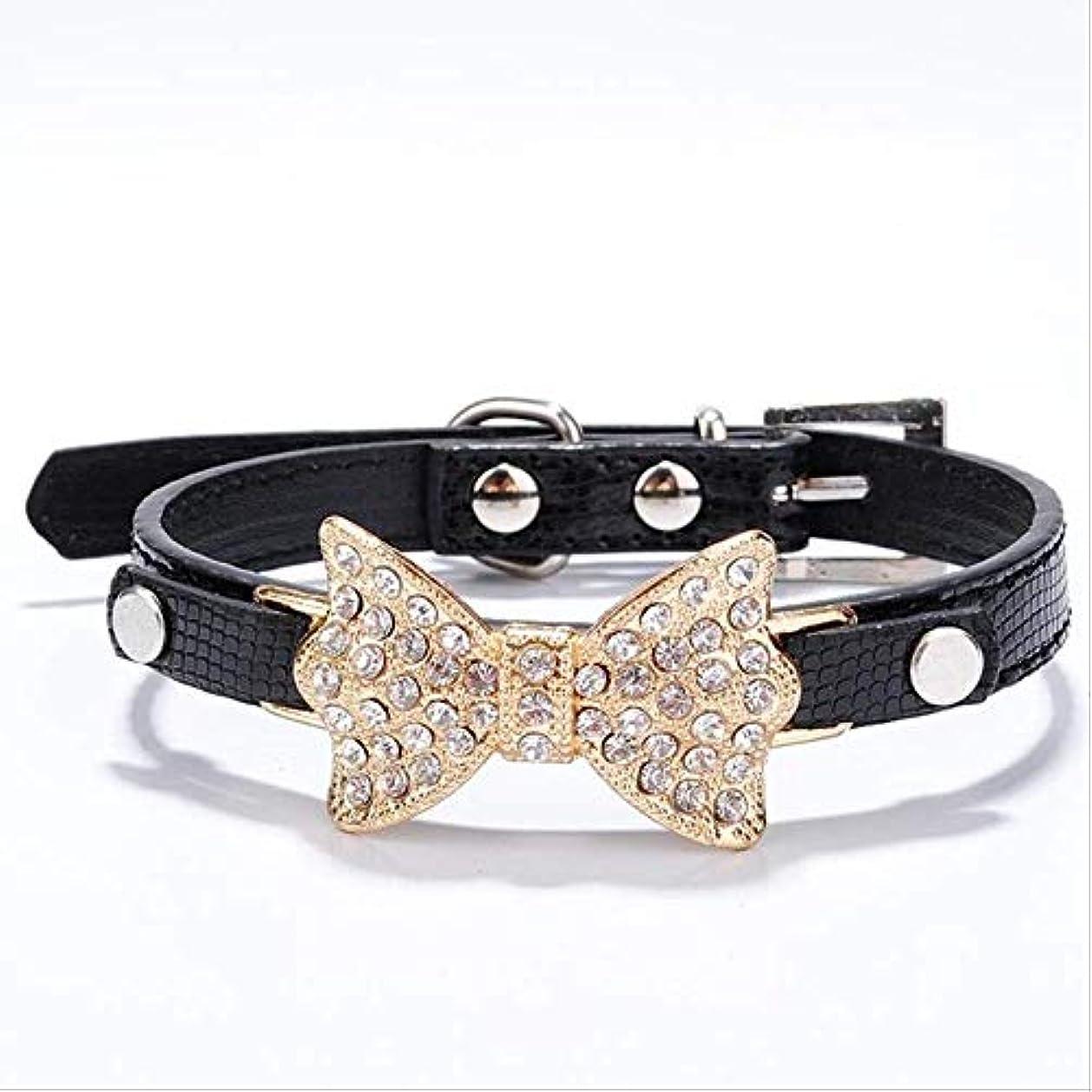 ヨーロッパ起きている学部Dog Collar Small Dog Bow Pu Leather Pet Collar Puppies Cat Necklace Dog Harness Harness Rope Dog Accessories Black M