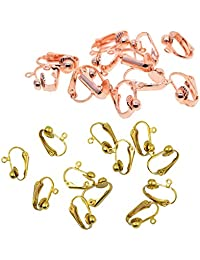 D DOLITY 24 Pieces 16x14mm Brass & Rose Gold Clip-on Earrings Converter with Open Loop Blanks DIY Jewelry Making Findings Accessories