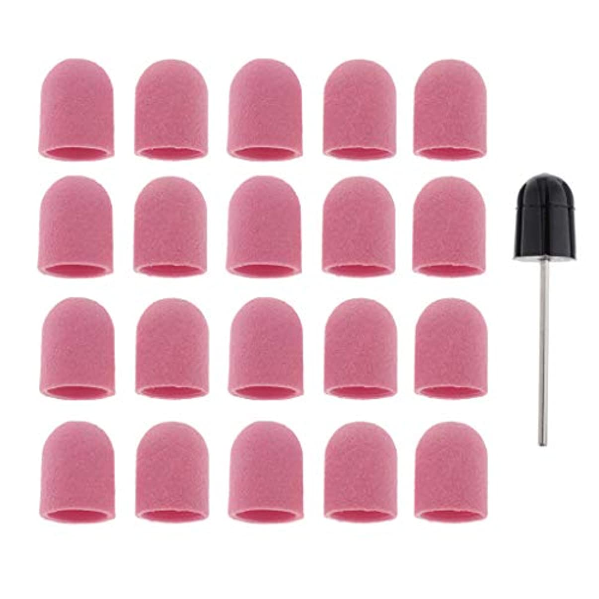 謙虚物理しないPerfeclan ネイルアート ドリルビットバフ 研削ビットバフ キャップ 角質除去 爪磨き ツール 約20本 全5カラー - ピンク