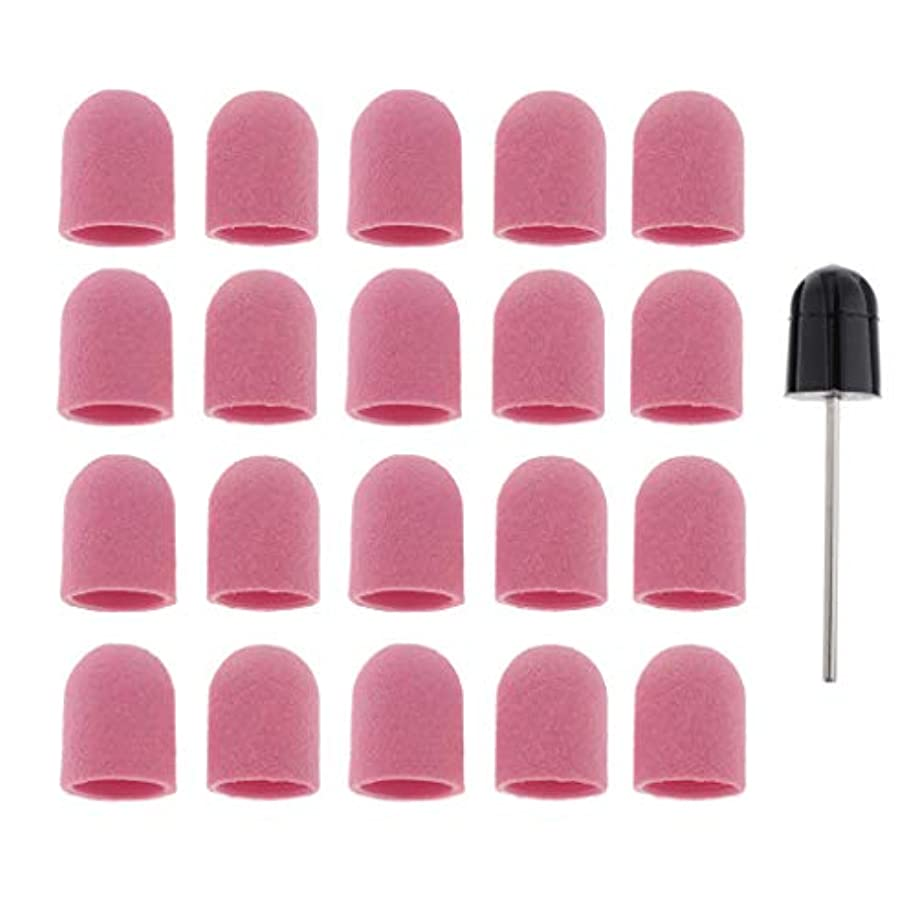 ハドル勇敢な注ぎますPerfeclan ネイルアート ドリルビットバフ 研削ビットバフ キャップ 角質除去 爪磨き ツール 約20本 全5カラー - ピンク