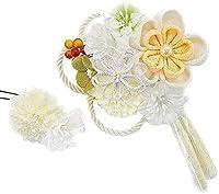 髪飾り 2点セット kk-003 白 ホワイト イエロー 花 かんざし ちりめん つまみ細工 コーム型 振袖 成人式 卒業式 結婚式 七五三 袴 和装