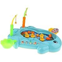 B Baosity 15個 電動 魚プール 赤ちゃん 磁気釣りおもちゃ 水のおもちゃ 全2色 - ブルー