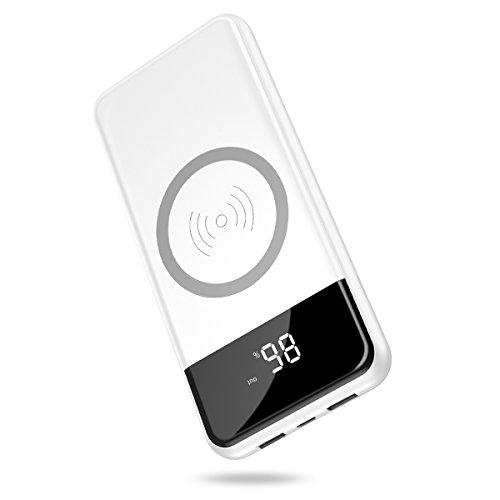 モバイルバッテリー Hokonui ワイヤレス充電器 10000mAh 大容量 Qi 急速充電 無線充電器 置くだけ 充電 2USBポート 3台同時充電 ケーブル不要 スタンド機能付 持ち運び 無線と有線両用 iPhonex iPhone8 Plus Galaxy note8 S8 S8+ S7 S7 android各種他対応 (ホワイト)