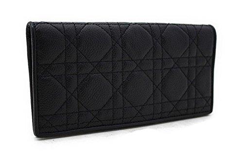 (ディオール) Dior レディディオール 2つ折り長財布 ブラック