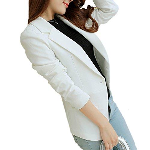 DonnaSion(ドネーション) 選べる7色 洗える レディース ジャケット ウォッシャブル ブレザー ジャケット ハイウエスト 1つボタン 裏地 (XL, ホワイト)