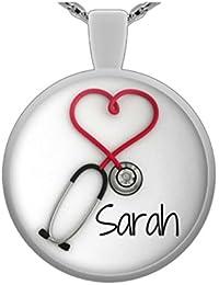 Personalized聴診器ペンダントネックレス、面白いと固有のギフトの看護師と医者