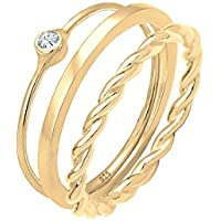 Elli Women Solitaire Stacking Swarovski Crystals 925 Sterling Silver Gold-Plated Ring