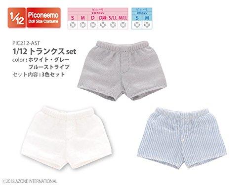 ピコニーモ用 1/12 トランクスセット ホワイト/グレー/ブルーストライプ (ドール用)