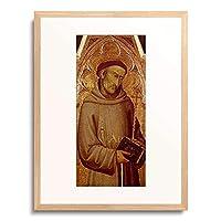 Andrea di Vanni d Andrea,um1332-1413 「Der hl. Franziskus. Dimensions: 85,5 x 41,5 cm Medium: wood Location: Altenburg, Lindenau-Museum」 額装アート作品