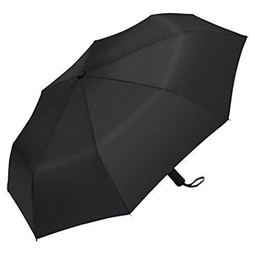 PLEMO 改良版折り畳み傘 梅雨対策 ワンタッチ自動開閉 折りたたみ傘 錆び止め強化 8本傘骨 耐強風 撥水加工 収納ケース付 ブラック (直径94センチ)