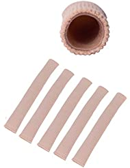 Wecando足指保護ジェルパッド つま先 指 外反母趾 内反小趾 矯正 保護 魚の目 摩擦痛み緩和 調整可能 (スキントーン 5本, L)