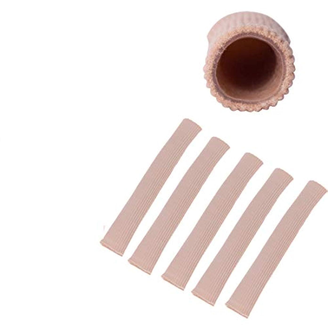 サロン茎夢Wecando足指保護ジェルパッド つま先 指 外反母趾 内反小趾 矯正 保護 魚の目 摩擦痛み緩和 調整可能 (スキントーン 5本, L)