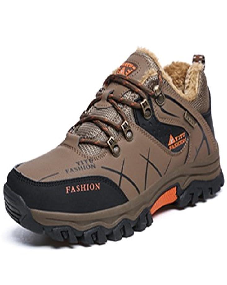 束伸ばす餌トレッキングシューズ 登山靴 メンズ  ハイキングシューズ 防水 防滑 ウォーキングシューズ アウトドア トラベル ハイカット キャンプ シューズ 暖かい靴 大きいサイズ クッション性/通気性  カーキ裏起毛 26.0CM