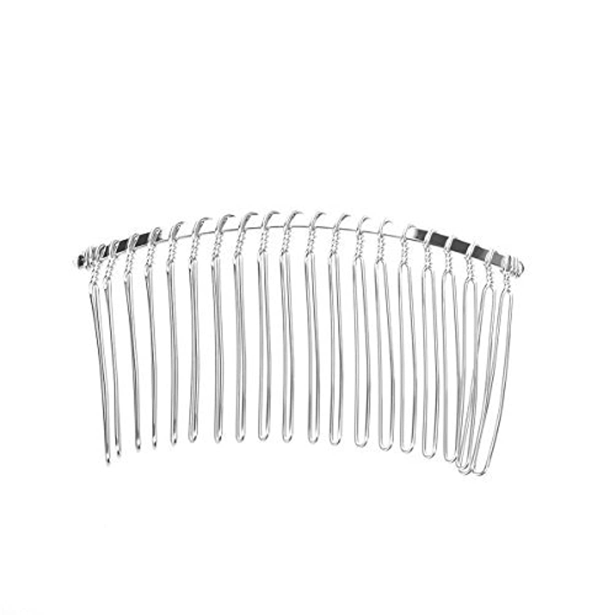 迷路拾う上回るPixnor 7.8cm 20 Teeth Fancy DIY Metal Wire Hair Clip Comb Bridal Wedding Veil Comb (Silver) [並行輸入品]