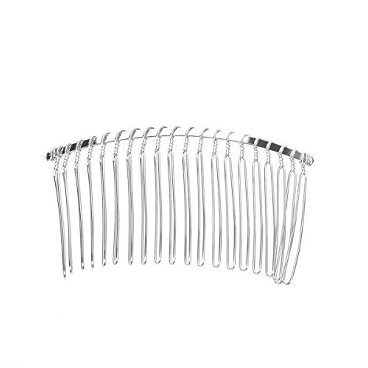 シェード電子群れPixnor 7.8cm 20 Teeth Fancy DIY Metal Wire Hair Clip Comb Bridal Wedding Veil Comb (Silver) [並行輸入品]