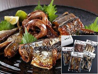 【海産物珍味の老舗】甘露煮5袋セット (たら、こまい、にしん、さんま甘露煮、真いか浜煮)【産地おが和】