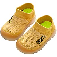 Exgingle Kids Boys Girls Mesh Breathable Anti-Slip Sneakers Infant First Walking Sock Shoes