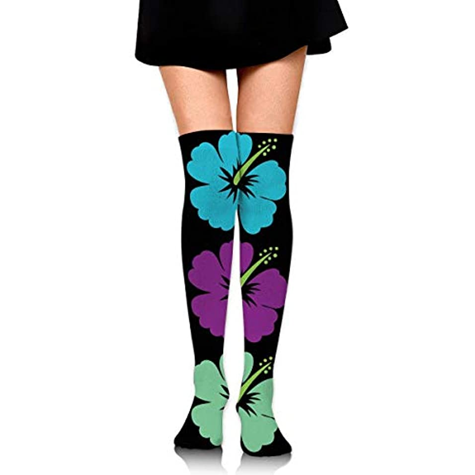 ベッド悲しいファントムMKLOS 通気性 圧縮ソックス Breathable Extra Long Cotton Mid Thigh High Hawaiian Flower Hibiscus Exotic Psychedelic Print...