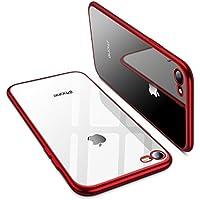 TORRAS iPhone8 ケース / iPhone7 ケース【高品質TPU/背面クリア+メッキ加工/Qi充電対応】薄型 ソフト アイフォン8/7 用 耐衝撃カバー(レッド)