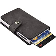GingkoTree Credit Card Holder RFID Blocking Wallet Slim Wallet PU Leather Vintage Aluminum Business Card Holder Automatic Pop-up Card Case Wallet Security Travel Wallet