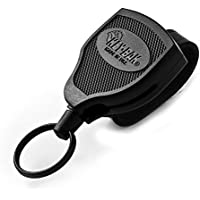 """KEY-BAK SUPER48 Locking Retractable Keychain, Black Polycarbonate Case, Leather Duty Belt Loop, Oversized Split Ring and Made in the USA, unisex-adult, KEY-BAK SUPER48 XD 20oz. Locking Retractable Keychain, 28"""" Kevlar Cord, Black Polycarbonate Case, Leather Duty Belt Loop, Oversized Split Ring, 0S48-613, Black, Xtreme Duty (28""""/20oz.)"""
