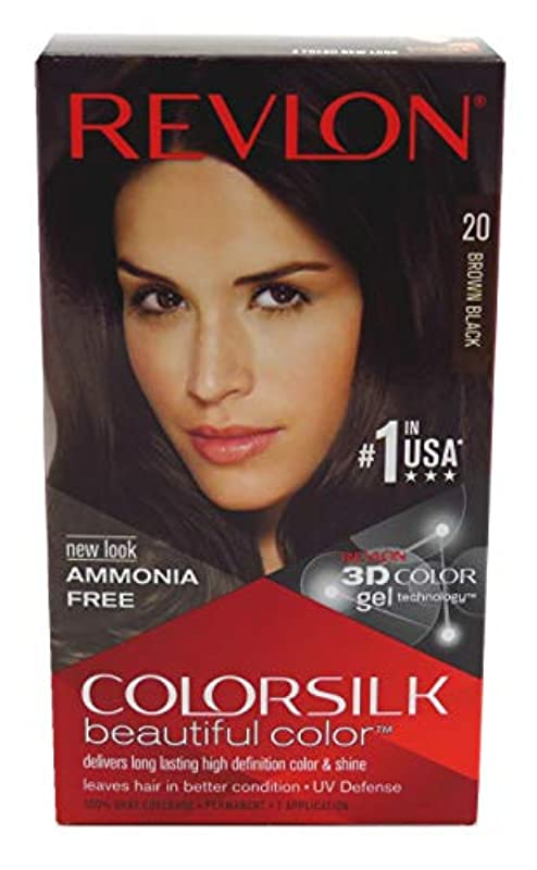 あさりあからさま芸術的Revlon Colorsilkヘアカラー20ブラウンブラック、3パック ブラウン、ブラック