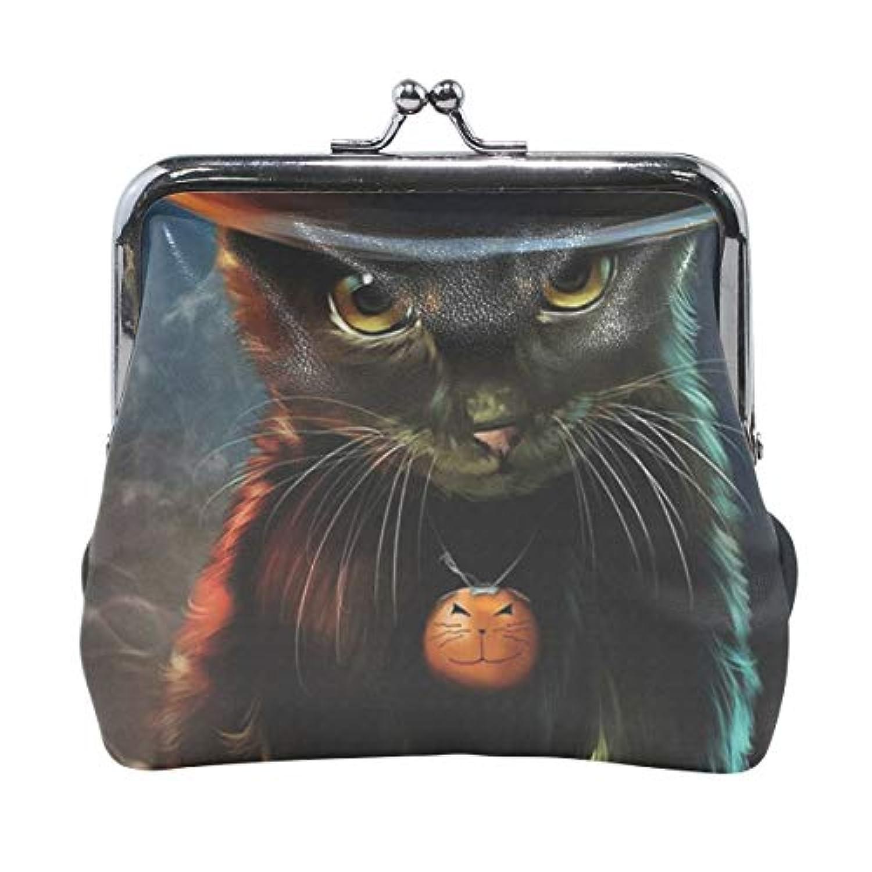 がま口 小銭入れ 財布 黒猫 コインケース レザー製 丸形 軽量 人気 おしゃれ プレゼント ギフト 雑貨