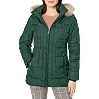 Larry Levine Womens 57543-L9 Short Puffer W/Curved Quilting & Detachable Faux-Fur Trimmed Hood Jacket
