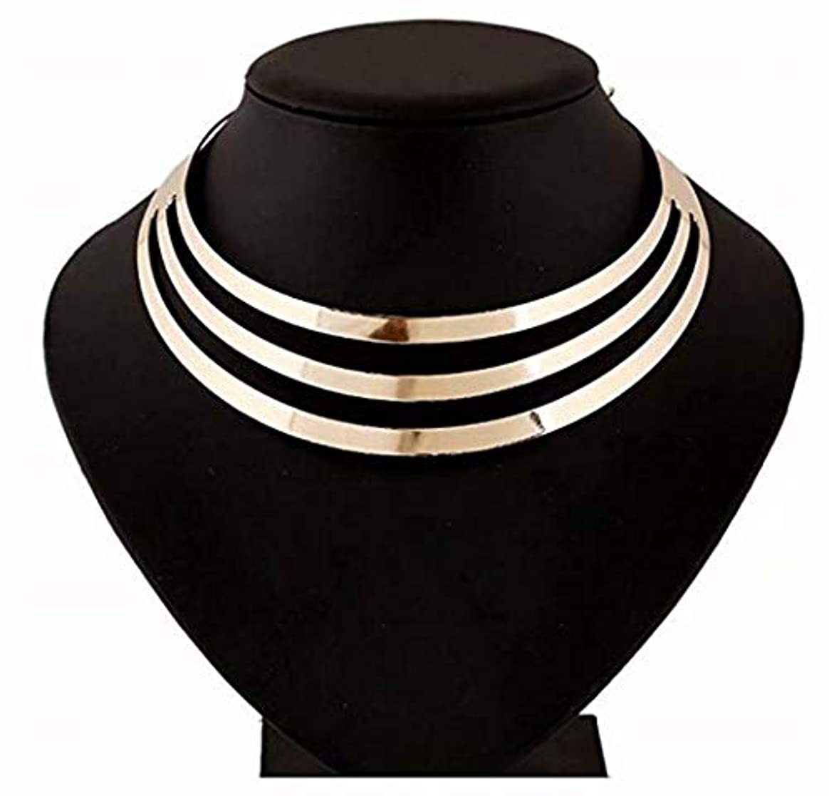 モードリンピッチ優遇七里の香 ペンダントネックレス 3 多層半円のペンダント 亜鉛合金チェーンネックレス ファッション 女性 -ゴールド