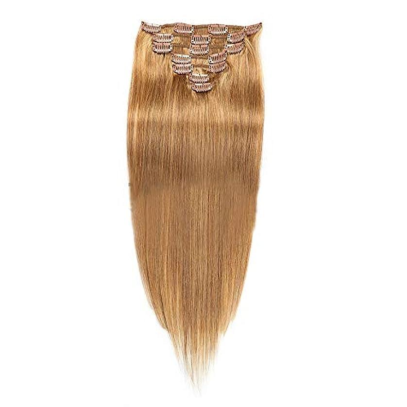 化石みすぼらしい同化するHOHYLLYA 22インチヘアエクステンション#12明るいブロンドカラーリアルクリップin人間のヘアエクステンションストレートナチュラル探してロールプレイングかつら女性のかつら (色 : #12 bright blonde)