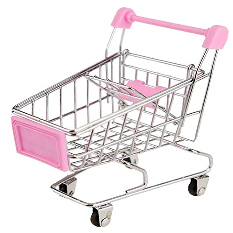 つぶすメジャーボーナスおもちゃミニショッピングカート ミニスーパーマーケットハンドカート、デスクトップストレージ、ピンク#20